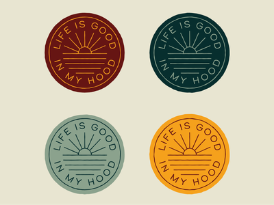 Life Is Good ocean waves sunset badge minimal monoline branding vector logo caribou creative laura prpich