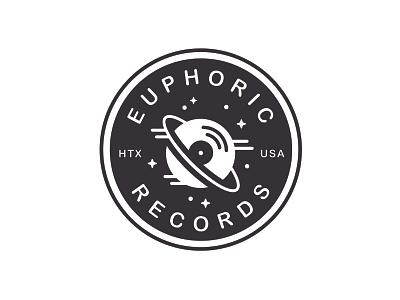 Euphoric Records houston outerspace galactic record label vinyl records badge minimal monoline branding vector logo caribou creative laura prpich