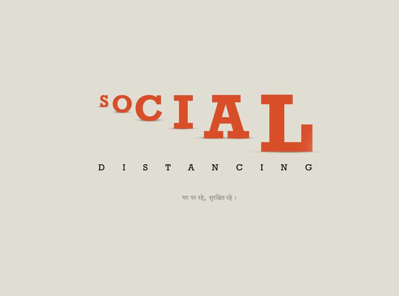 SOCIAL DISTANCING visualization covid-19 branding logo minimal typography flat illustration vector art vector illustration design