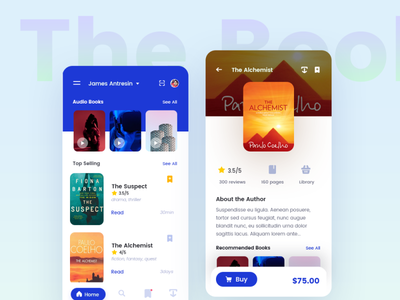 Bookshelf - concept of books application inspiration ui ux android ios art application web app typography branding illustration flat design design mobile flatdesign