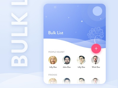 Bulk List mobile contact white web ux ui share material flat design clean blue