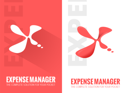 Expense Manager typography playstore applogo longshadow material flat logo white red