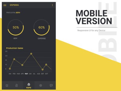 Mobile Ui android ios yellow black dashboard admin dark theme ux mobile ui