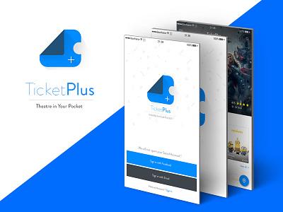 Ticketplus material flat design android ios movie ticket app blue ux ui mobileui
