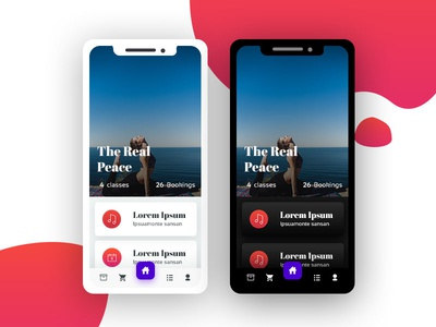 Yoga application Mock up uxdesigner product design application design mobile design iphone iphonex mobile material flat yoga