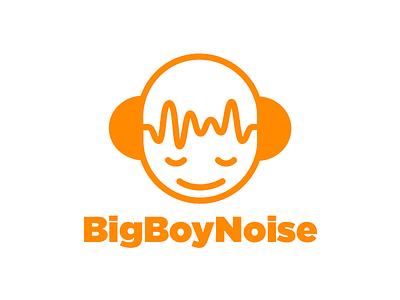Logo for Audio Engineer boy character orange vector design thickline headphones audio