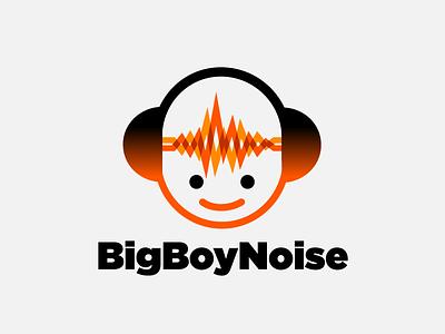Audio Engineer Logo vector thickline orange headphones design character boy audio
