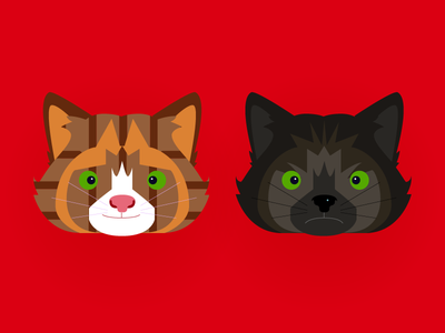 Jack & Monkey happy angry caricature design male female tortoiseshell tabby vector red cats cat