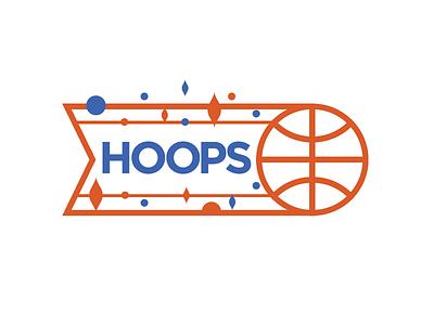 Hoops retro design blue orange hoops thicklines vector logo basketball