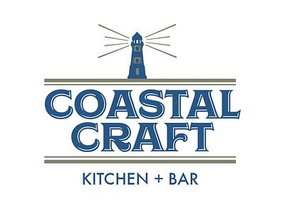 Coastal Craft Logo version 1 bar gastropub brunch concept atlantic city gold design restaurant new england vector logo lighthouse