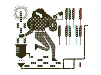 Brewing process growler 01 barley white black growler beer mug set pipes woman illustration design vector