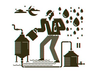 Brewing process growler 02 vector design illustration man pipes set mug beer growler black white water