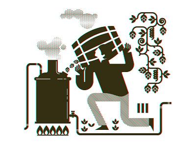 Brewing process growler 03 hops white black growler beer barrel set pipes man illustration design vector