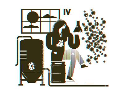 Brewing process growler 04 vector design illustration woman pipes set keg beer growler black white yeast