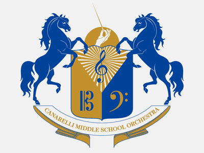 Musical Horse Shield music orchestra band sigil scroll shield illustration vector logo horse heraldry emblem