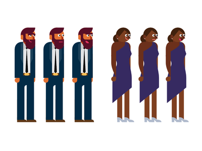 Modular Character Set after effects grid storyboard vector male-female character mograph