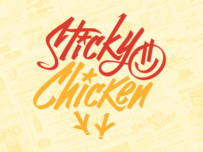 Concept art for Food Truck truck food street graffiti vector smiley marker-art yellow logo red chicken sticky