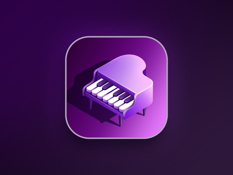 Piano app icon music music app violet marketing app piano icon