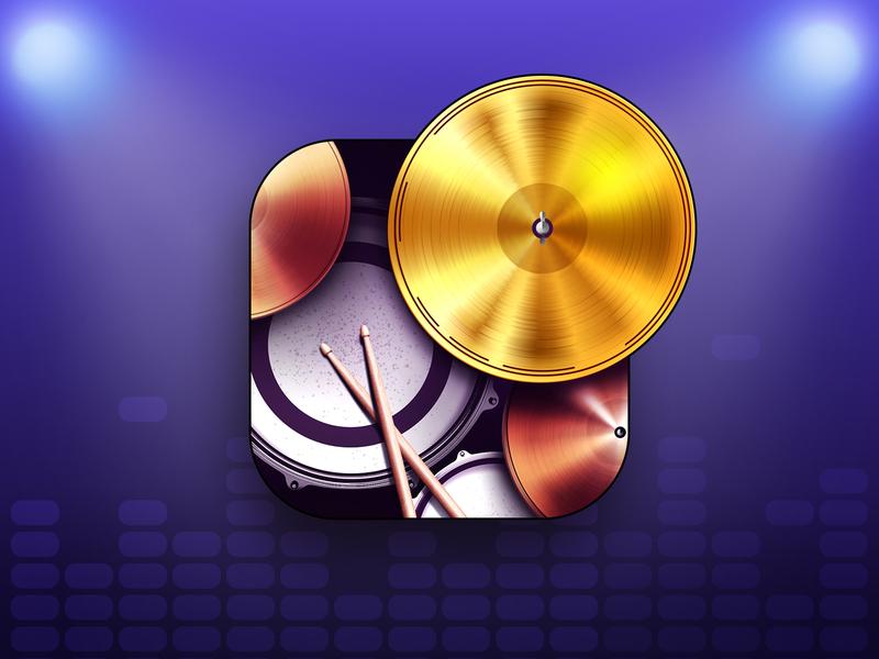 Wedrum app icon metal rock drum plate gold beat icon app drums drum