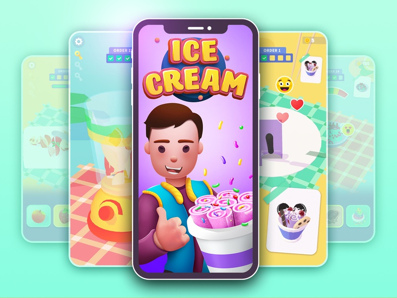 Ice Creamz Roll icon logo aso graphic design ui appstore game illustration screen screens app icecream ice
