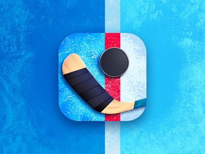 Happy Hockey icon ice hockey stick puck hockey logo art design illustration game aso app icon