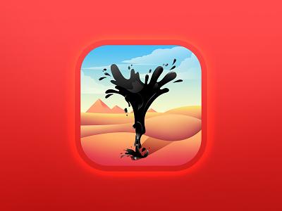 Oil Tycoon icon cloud splash drop fun piramid desert oil vector appstore logo art design illustration game aso app icon