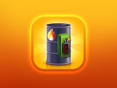 Bomb icon cool fuse timer light cs oil boom fire bomb vector appstore logo art design illustration game aso app icon