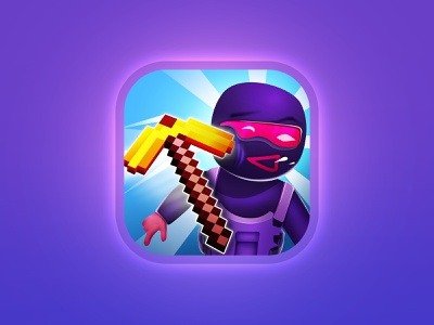 Smash them all! icon swat ninja the character shot hit strike push appstore art illustration game aso icon
