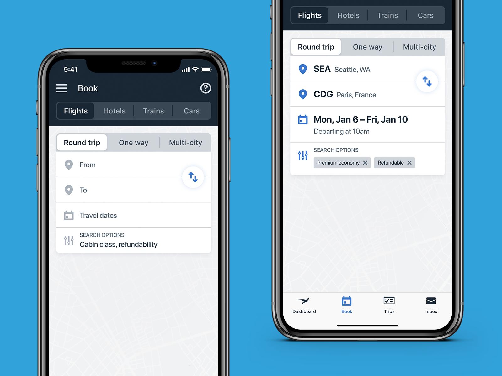 Egencia iOS Search Forms