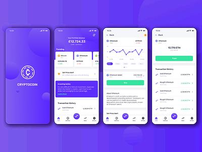 Cryptocoin - App concept coin app mobile design mobile app mobile ui mobile cryptocurrency crypto wallet crypto ux ui design