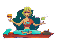 You what you eat apple food yoga doodle character illustration