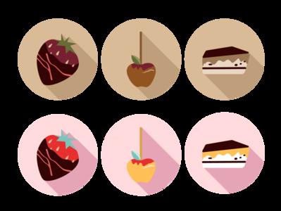 Desserts flat icons