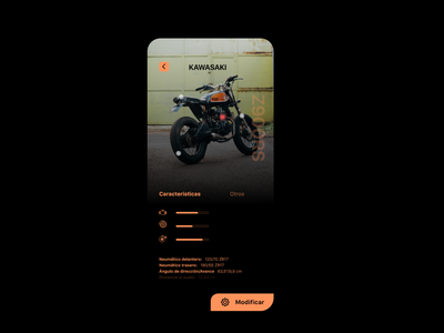 Motorcycle App photoshop design app app design text designer prototype kawasaki photo photography colors modified type modification motorsport motorcycle buy ui design iphone x app