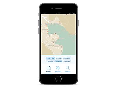 Nearby filtering travel app ui