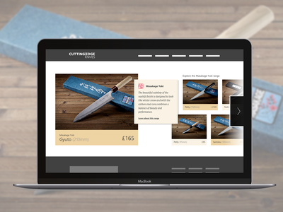 New Homepage for Cutting Edge Knives - Iteration 1 umbraco store e-commerce slider carousel ecommerce ux banner search panel grid typography photo homepage ui layout