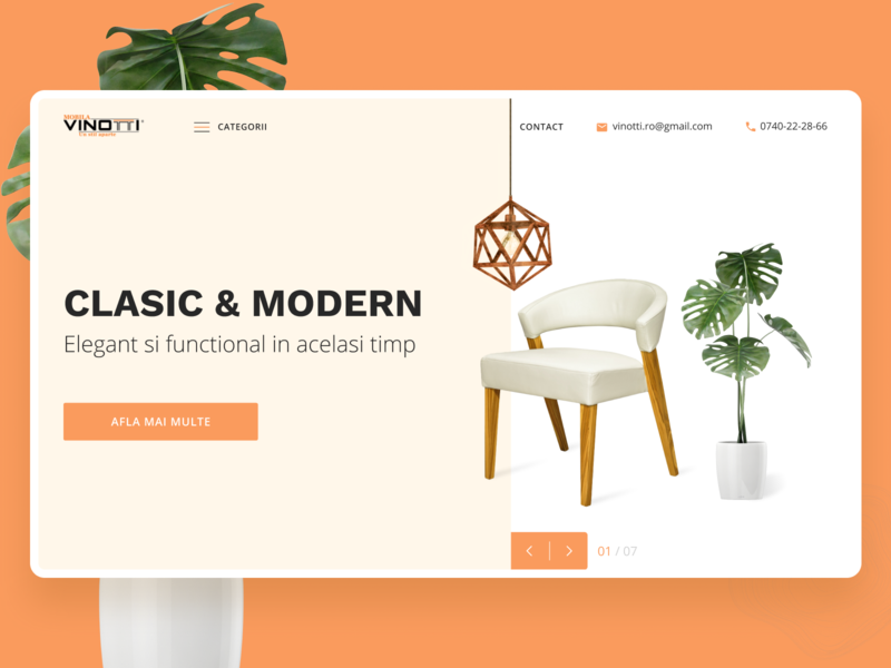 Vinotti Furniture home screen webdesign website web ui design uidesign uiux minimalism minimal store interiordesign interior e-commerce ecommerce ui website design figma decor chair furniture store furniture