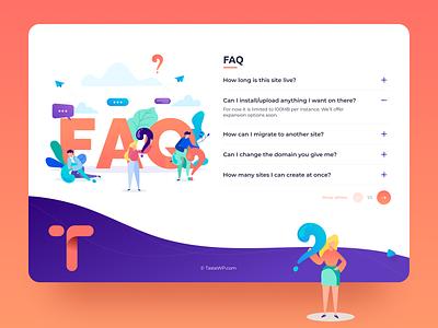 FAQ design for WordPress customization platform webdesign website uiux ux ui web vector illustration logo figma website design flat design flatdesign flat illustration wordpress answers questions answer question faq