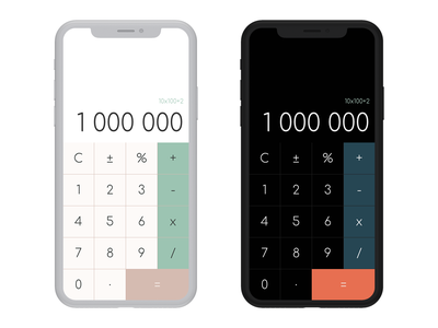 Daily UI Challenge #004 - iPhone X Calculator iphone x minimalistic simple design calculator app app design dailyui 004 dailyui ui daily ui daily challange daily 100 challenge calculator phone app phone