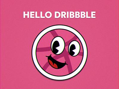 (ง ͠ ͠° ل͜ °)ง Hello Dribbble first shot thanks retro ball invitation illustration cuphead debut
