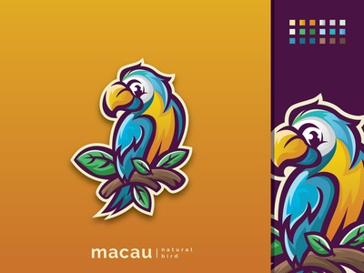 macaw bird logo can be used for print and digital media