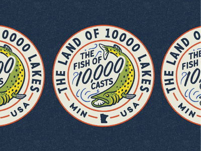 10K casts & 10K lakes fish print patch north midwest fisherman outdoors minnesota musky fishing design illustration