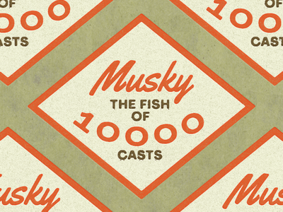 Musky 10K Casts print typogaphy retro vintage badge fish musky outdoors fishing logo design