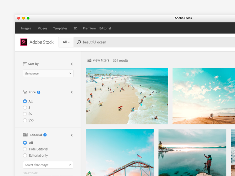 Adobe Stock UI Update commerce marketplace photography product web ui stock filters search