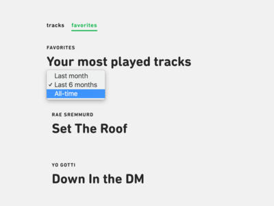 TrackQueen.io – Top Tracks typography web product design music api spotify