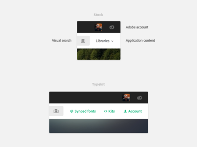 Main account + app product design web ui layout typography system