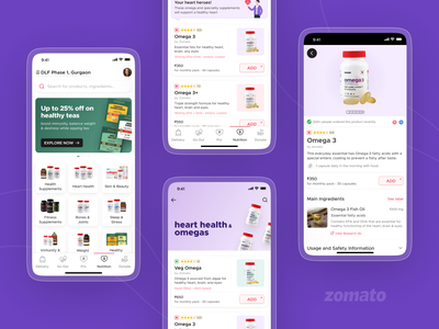 Zomato Nutrition app mobile ux ui design marketplace nutraceutical supplement healthcare fitness healthy health nutrition