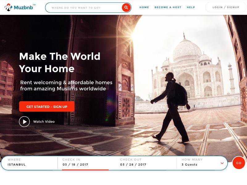 Muzbnb Homepage web booking