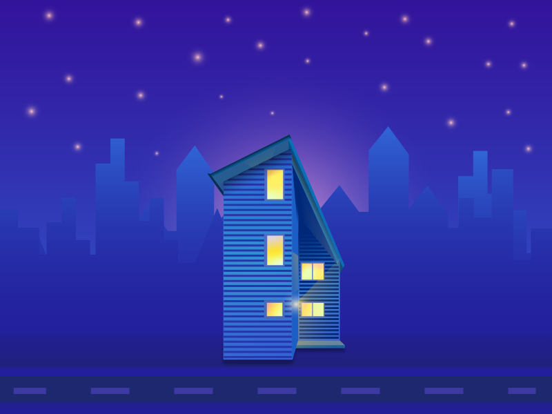 Lonely House shadows shadow lighting architecture gradient minimal flat vector illustration design