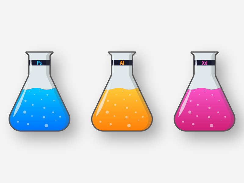 Design Chemistry illustrator photoshop xd app ui ux gradient minimal flat vector illustration design