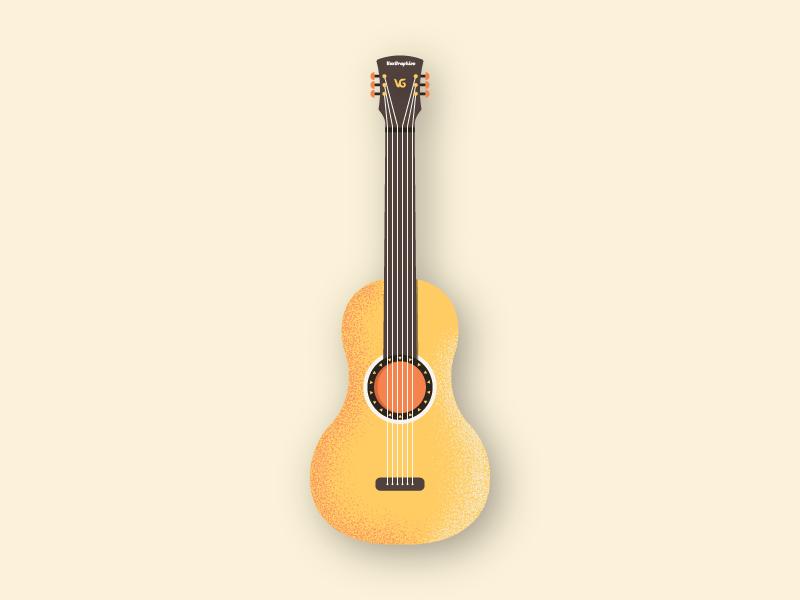 Dribble Guitar texture guitar flat minimal vector illustration design
